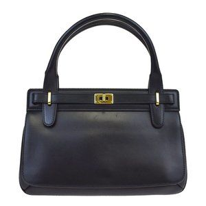GUCCI Kogo Hand Bag Leather Black Gold-Tone Made